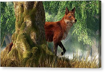 Fox In A Forest Canvas Print by Daniel Eskridge