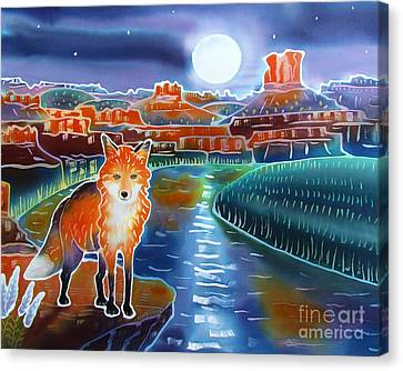 Fox In The Moonlight Canvas Print by Harriet Peck Taylor