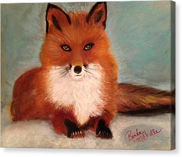Fox In The Snow Canvas Print by Renee Michelle Wenker