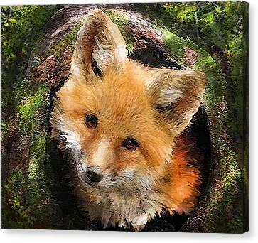 Fox Kit In Log Canvas Print by Jane Schnetlage