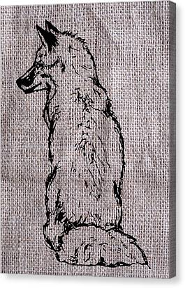 Fox On Burlap  Canvas Print