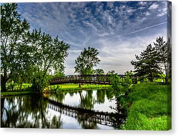 Fox River Bridge Canvas Print by Randy Scherkenbach