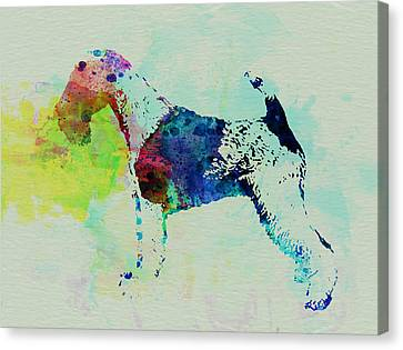 Fox Terrier Canvas Print - Fox Terrier Watercolor by Naxart Studio