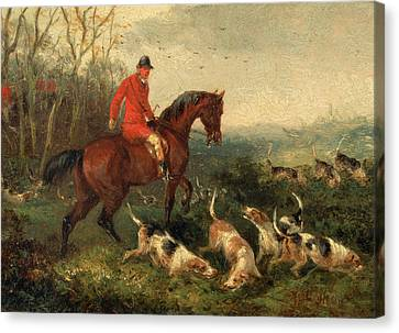 Foxhunting At Cover Signed And Dated In Brown Paint Canvas Print by Litz Collection