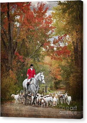 Foxhunting Autumn Colours Canvas Print by Heather Swan