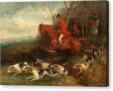 Foxhunting Breaking Cover, William J. Shayer Canvas Print by Litz Collection