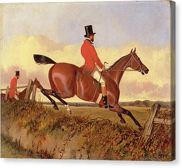Foxhunting Clearing A Bank, John Dalby, Active 1826-1853 Canvas Print by Litz Collection