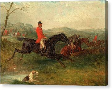Foxhunting Clearing A Brook Signed And Dated In Red Paint Canvas Print by Litz Collection