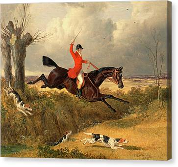 Foxhunting Clearing A Ditch Signed And Dated Canvas Print by Litz Collection