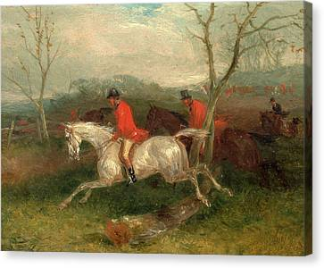 Foxhunting Coming To A Fence Full Cry Signed And Dated Canvas Print by Litz Collection