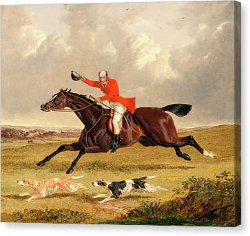 Foxhunting Encouraging Hounds Capping Hounds And Full Cry Canvas Print by Litz Collection