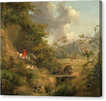 Foxhunting In Hilly Country Signed And Dated Canvas Print by Litz Collection