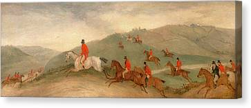 Foxhunting Road Riders Or Funkers, Richard Barrett Davis Canvas Print by Litz Collection