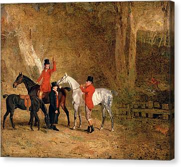 Foxhunting Scene Fox Hunting Two Gentlemen With A Groom Canvas Print by Litz Collection