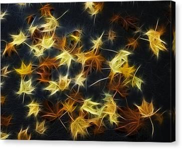 Autumn Road Fractal Canvas Print - Fractal Autumn Leaves Yellow Orange And Brown by Matthias Hauser