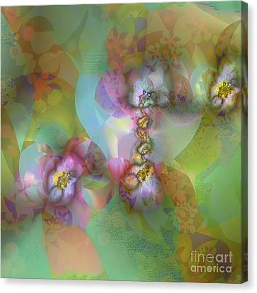 Canvas Print featuring the digital art Fractal Blossoms by Ursula Freer