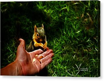 Fractal - Feeding My Friend - Robbie The Squirrel Canvas Print by James Ahn