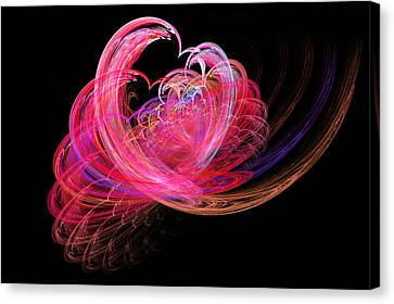 Fractal - Heart - Lets Be Friends Canvas Print by Mike Savad