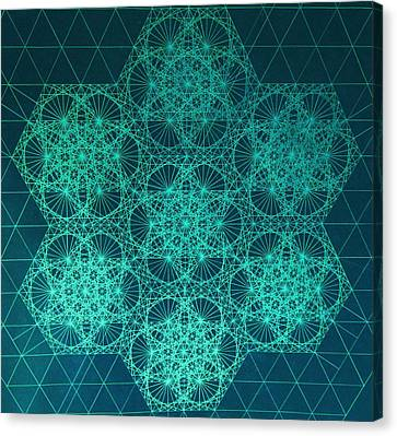 Canvas Print featuring the drawing Fractal Interference by Jason Padgett