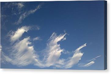 Canvas Print featuring the digital art Fractal-like Clouds by Lea Wiggins