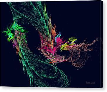 Fractal - Winged Dragon Canvas Print by Susan Savad