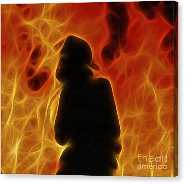 Fractalius Fiery Firefighter Canvas Print