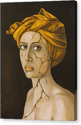 Fractured Identity In Gold Canvas Print