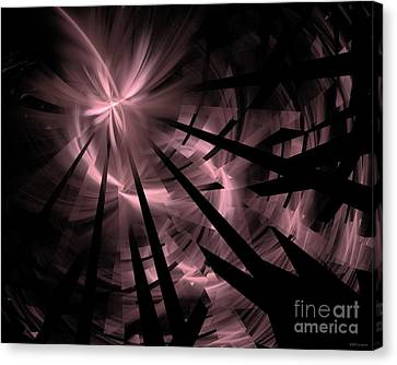 Fractured / Pink Lights At Night Canvas Print by Elizabeth McTaggart
