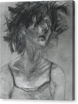 Gathering Strength - Original Charcoal Drawing - Contemporary Impressionist Art Canvas Print by Quin Sweetman