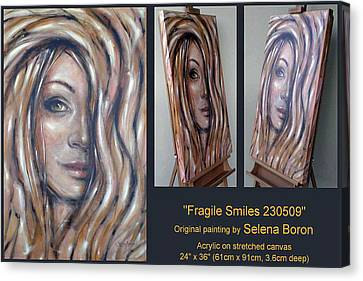 Canvas Print featuring the painting Fragile Smiles 230509 Comp by Selena Boron