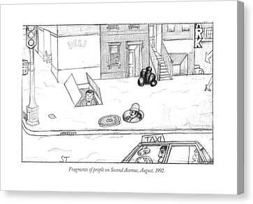 Fragments Of People On Second Avenue Canvas Print by Saul Steinberg