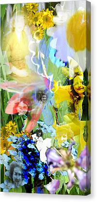 Canvas Print featuring the digital art Framed In Flowers by Cathy Anderson