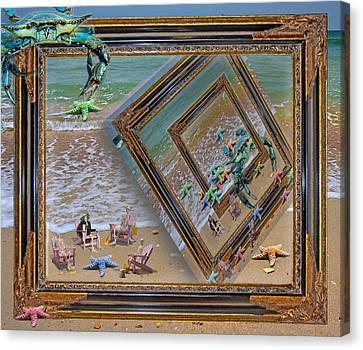 Framed Sea Stars Blue Crabs Skeletons Ocean Waves Canvas Print