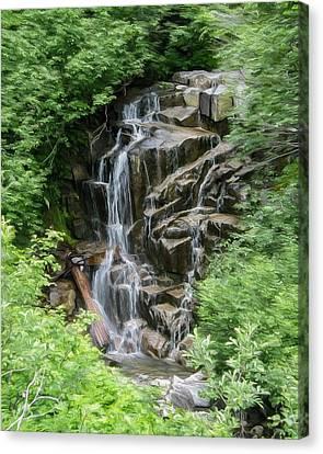 Framed Waterfalls On Mount Rainier Canvas Print by John Haldane