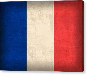 France Flag Distressed Vintage Finish Canvas Print