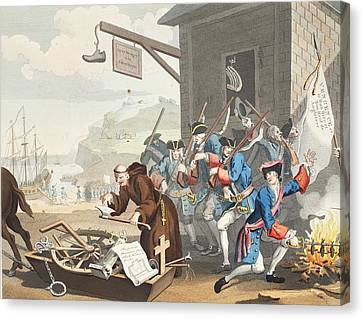 France, Illustration From Hogarth Canvas Print by William Hogarth