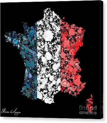 France Map Flag Canvas Print