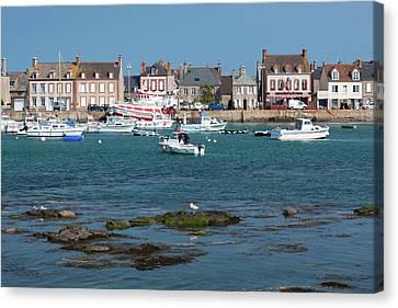 France, Normandy, Barfleur, Town Harbor Canvas Print by Walter Bibikow