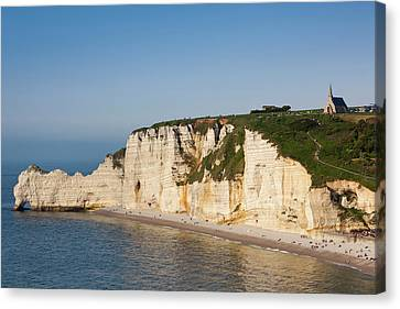 France, Normandy, Etretat, Falaise De Canvas Print by Walter Bibikow