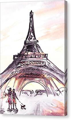 France Sketches Walking To The Eiffel Tower Canvas Print
