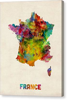 France Watercolor Map Canvas Print by Michael Tompsett