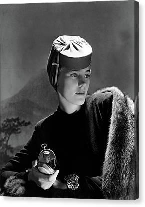 Frances Farmer Wearing An Agnes Hat Canvas Print