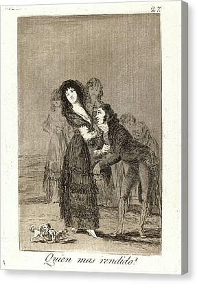 Francisco De Goya Spanish, 1746-1828. Quien Mas Rendido Canvas Print by Litz Collection