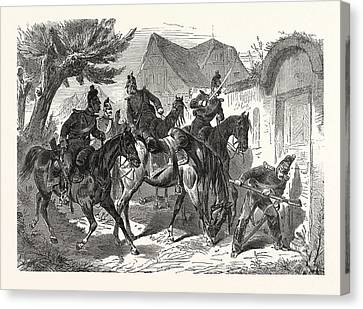 Franco-prussian War Bavarian Cavalry Patrol In A French Canvas Print