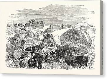 Franco-prussian War Residents Of The Zollinie Flee Canvas Print by French School