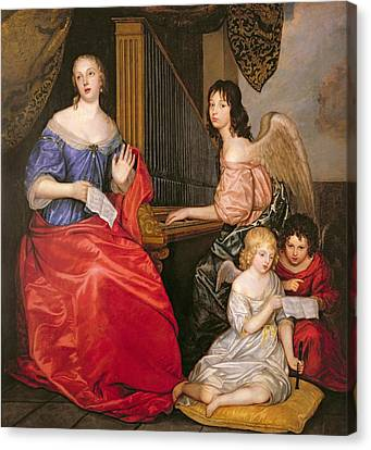 Winged Female Canvas Print - Francoise Louise 1644-1710 Duchess Of La Valliere With Her Children As Angels Oil On Canvas by Sir Peter Lely