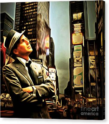Frank Sinatra If I Can Make It Here New York 20150126brun Square Canvas Print by Wingsdomain Art and Photography