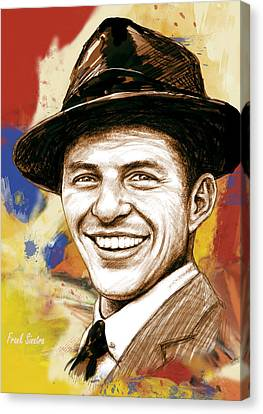 Frank Sinatra - Stylised Pop Art Drawing Portrait Poster  Canvas Print by Kim Wang