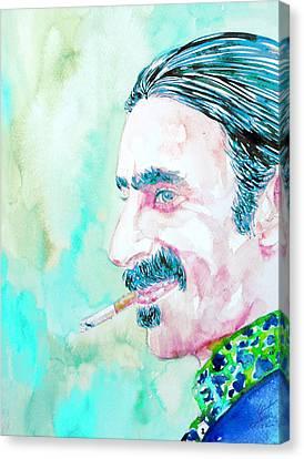 Frank Zappa Smoking A Cigarette Watercolor Portrait Canvas Print by Fabrizio Cassetta