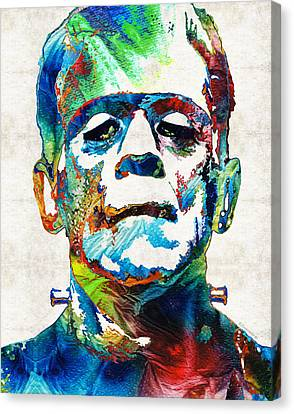 Monster Canvas Print - Frankenstein Art - Colorful Monster - By Sharon Cummings by Sharon Cummings